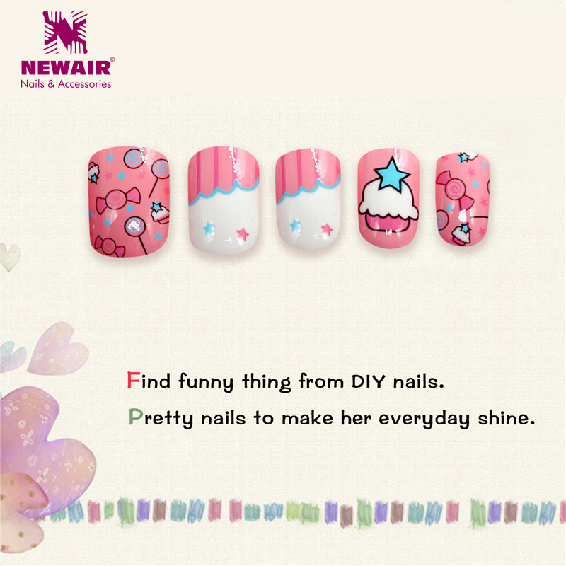Nail Art Games For Girls On The App Store: 24PCS Press On Children Candy False Nail Tips Cartoon
