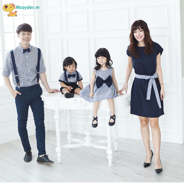 461a29bb Family Matching Outfits Korean Style Mother Daughter Dress Mother Son  Outfits Evening Suit Family Matching Clothes Family Look