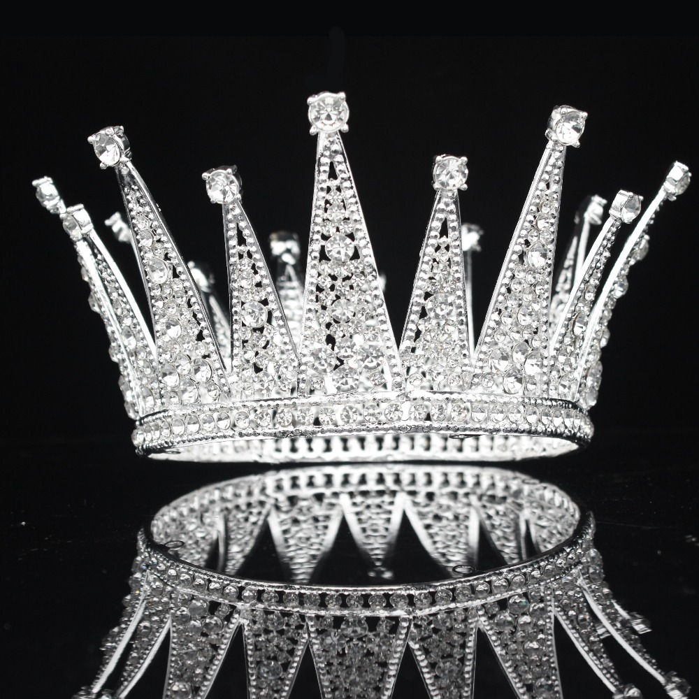 Image 3 - Vintage Crystal Queen King Bridal Tiara Crown Bride Headpiece Wedding Hair Jewelry Accessories Women Pageant Prom Hair Ornaments-in Hair Jewelry from Jewelry & Accessories