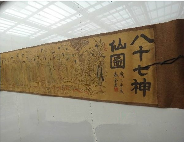 Chinese calligraphy handpainted old scroll painting 87 gods of ancient free shipping