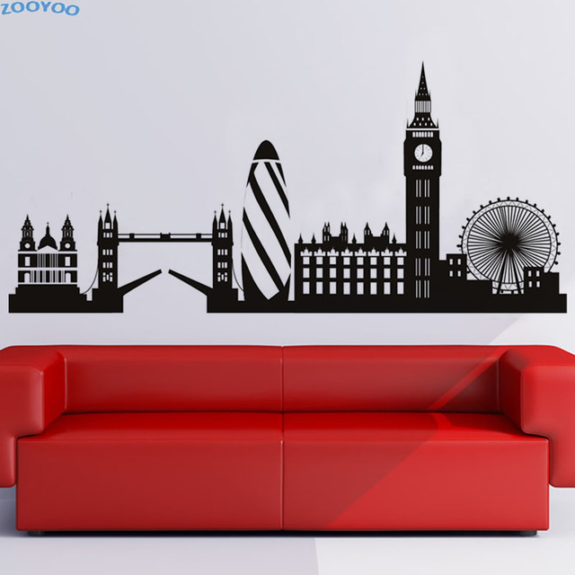 Aliexpresscom Buy ZOOYOO London Skyline Wall Sticker Big Ben - Wall decals city