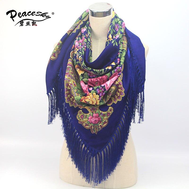 2016 Winter New Fashion women's tassel   Scarf   Square Floral Printed Brand shawls Female   Scarf   women cotton   scarves     wraps   shawls