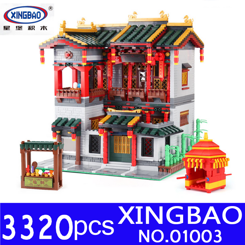 Xingbao 01003 3320Pcs MOC Creative Series The Beautiful Tavern Set Educational Building Blocks Bricks Children Toys Model Gifts in stock new xingbao 01101 the creative moc chinese architecture series children educational building blocks bricks toys model