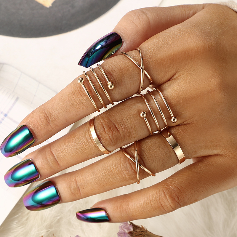 AECLVR 6pcs/Set Gold Metal Ring Sets Opening Circle Finger Ring For Women Vintage Fashion Alloy Joint Ring Simple Knuckle Rings