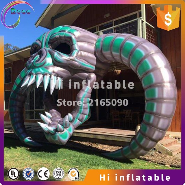 7m wide 4m high outdoor inflatable skull head keleton for halloween decoration sale
