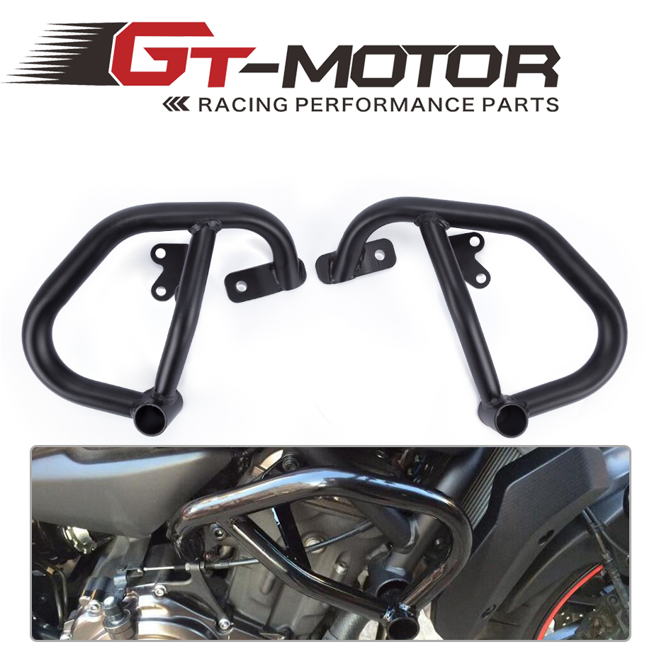 GT Motor- 2014 2015 2016 for YAMAHA MT-07 FZ-07 Black Engine Guard Crash Bar Protector MT07 FZ07 engine bumper guard crash bars protector steel for yamaha mt09 mt 09 fz07 fz 09 2014 2016 2014 2015 2016 motorcycle