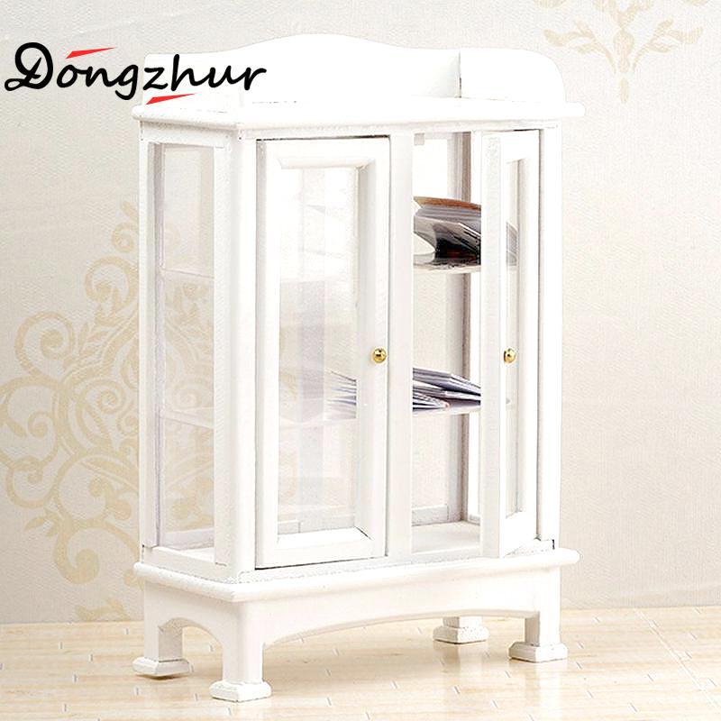 Miniatur Möbel Modell Weiß Wohnzimmer Holz Glas Vitrine Schrank Für 1:12  Puppenhaus Zubehör Weihnachten