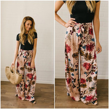 Women's Pants Loose Floral Print Drawstring 201 Casual Wide Leg Pants Female Summer Trousers Long Fashion Sweatpants Plus Size plus floral and geo print wide leg pants
