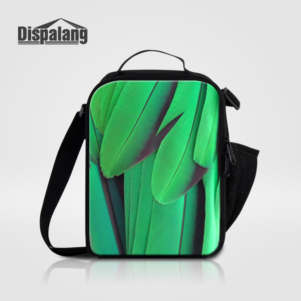 Dispalang Portable Kids Lunch Bag Animal Feather Print Insulated Cooler Bags Thermal Food Picnic Bags Women Lunch Box Bag Tote