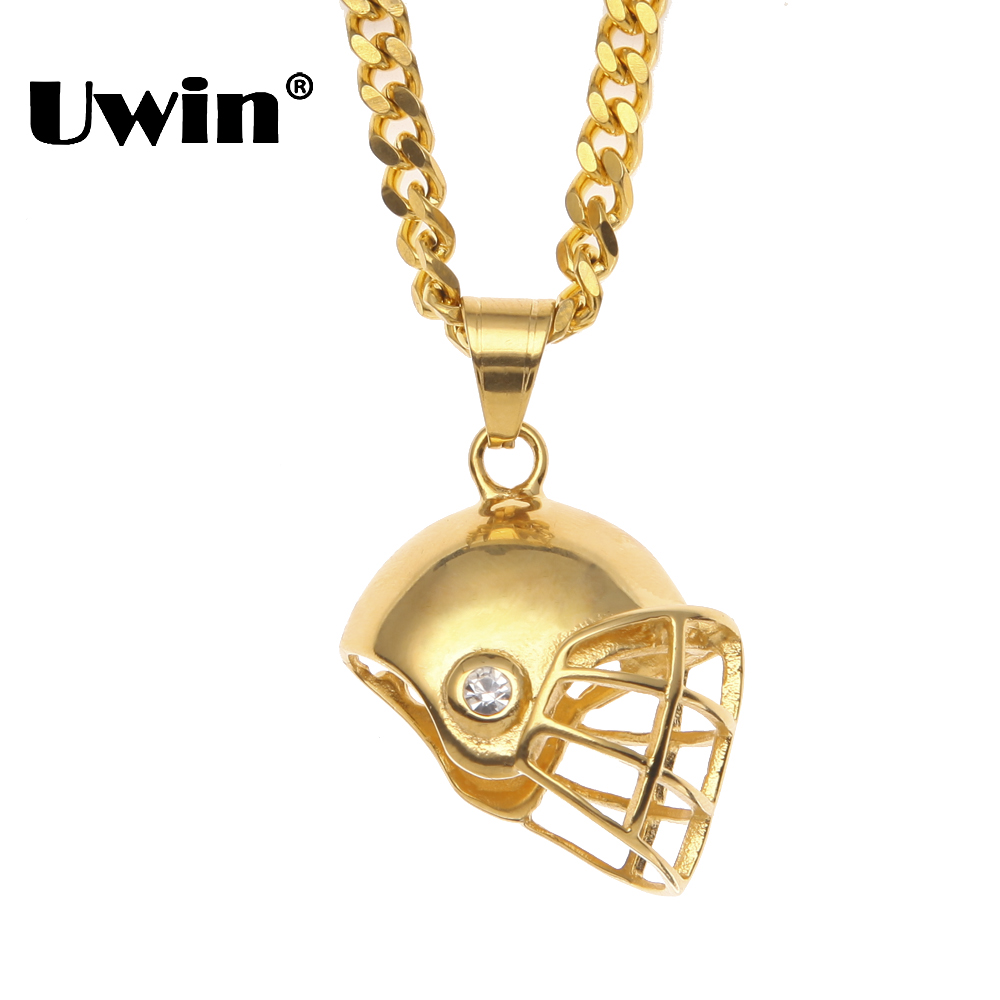 Uwin Hiphop Golden American Football Helmet Pendant Necklace Stainless steel Sport Rugby Ball Hat Mens Jewelry Dropshipping