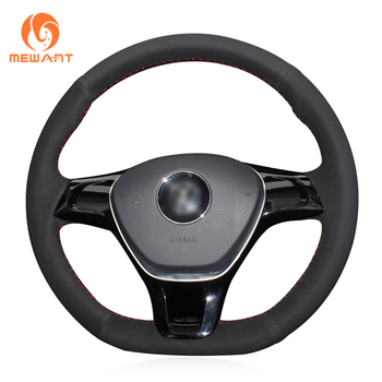 MEWANT Hand-stitch Black Suede Steering Wheel Cover for Volkswagen VW Golf 7 Mk7 New Polo Jetta Passat B8 Tiguan Sharan Touran