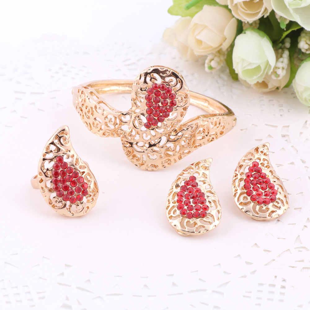 Beads phi Jewelry Thiết Cho Phụ Nữ Rhinestone Bông Tai Vòng Cổ Bracelet Vòng Bridal Đặt Fine Vàng Màu Đảng Phụ Kiện