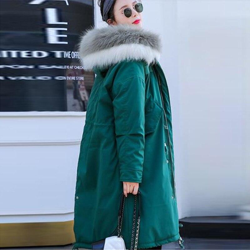 2018 Épaisse Veste Grand Vers Green Le Black Lâche pink Parka Manteau Hiver Long Rembourré Qualité red Fourrure Femmes De Femelle Bas dark Haute Survêtement Coton Col Harq8HgwZ