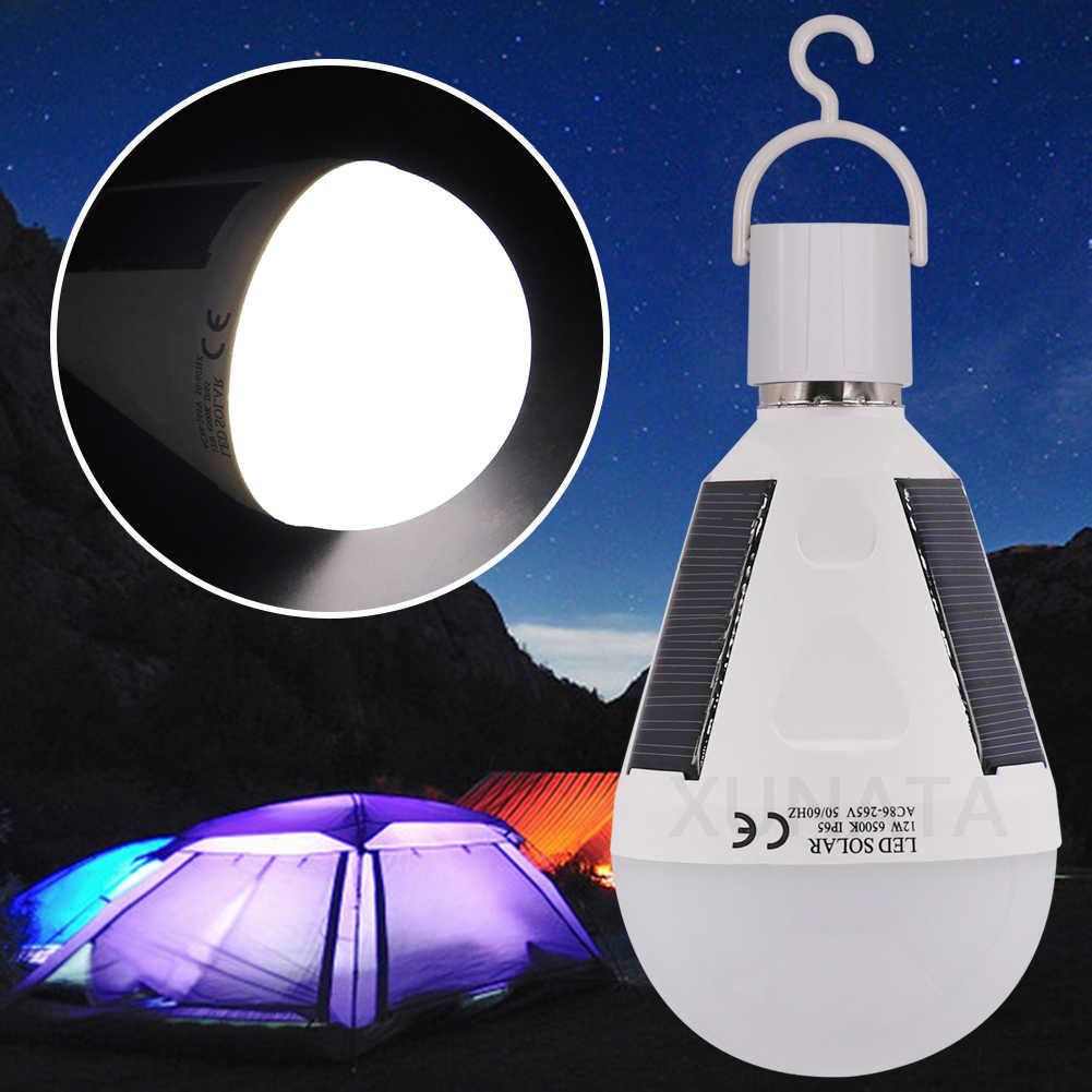 Bombilla LED para lámpara Solar portátil 7W 12W Panel Solar alimentado por Lámpara de energía Solar bombilla para acampar al aire libre Luz de pesca nueva