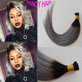 Ombre 1B Grey Pre Bonded Keratin Hair Extension I Tip Fushion Hair 100 50Pcs 1G Each Strands Human Remy Hair free shipping
