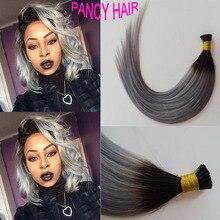 Ombre 1B Grey Pre Bonded Keratin Hair Extension I Tip Fushion Hair 100 50Pcs 1G Each Strands Human Remy Hair free shipping