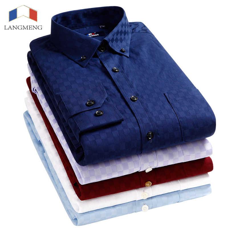 Langmeng 2017 新メンズストライプシャツ男性ドレスシャツ長袖ビジネスフォーマルなシャツ男性カジュアルシャツカミーサ masculina