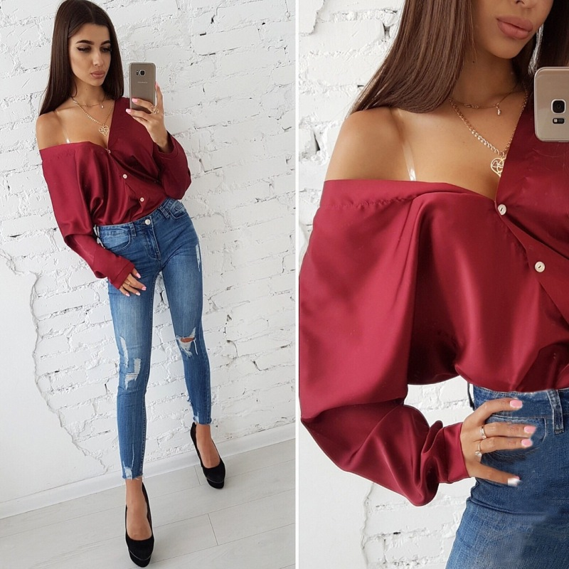 Autumn Tops Shirts Blouse Bat-Sleeve Casual-Button Loose Sexy Off-Shoulder Solid-Color