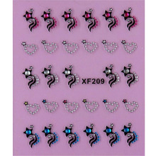star black 3D DIY design Water Transfer Nails Art Sticker decals lady women manicure tools Nail Wraps Decals XF209