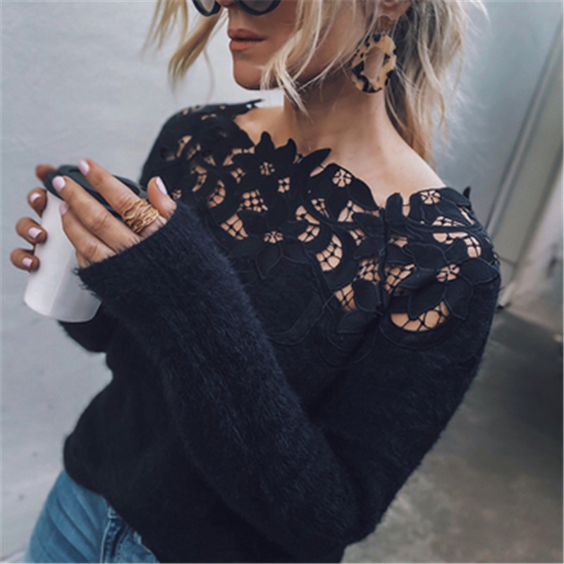 Floral Embroidery Knitted Sweater Women 2018 Autumn Winter Lace Patchwork Long Sleeve Women Sweaters Pullovers Female Pull Femme