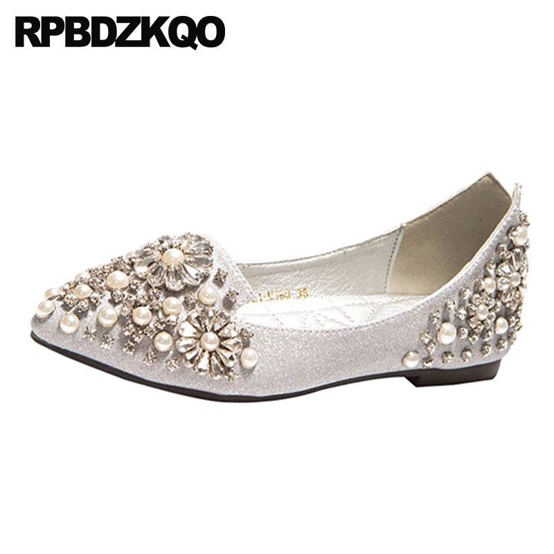 Slip De Chaussures Or Femmes Bout Dames 2018 Strass Mousseux Sur Chine argent Or Cristal Robe Pointu Diamant Appartements Perle Mariage Argent pwq6XICgpx