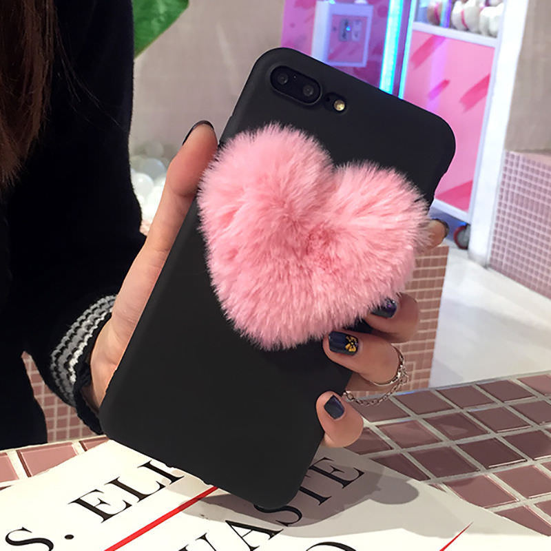 Lovely 3D Furry Love Hearts Cute hair Phone Case For OPPO A9 2020 F11 pro F9 F7 F5 A3 A5 A79 A83 A71 K5 A11X A5S K1 A3S A9X image