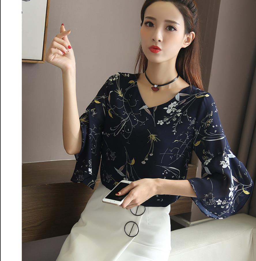 2019 Summer   blouse     shirt   Floral Chiffon   Shirt   Wild Trumpet Sleeve Top Women Loose Thin Sleeve Chiffon   Shirt   201914