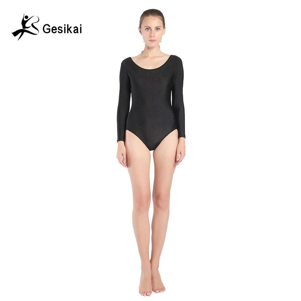 Women's Long Sleeves Ballet Leotards Spandex Lycra Zentai Yoga Leotards  Women Gymnastics Costumes