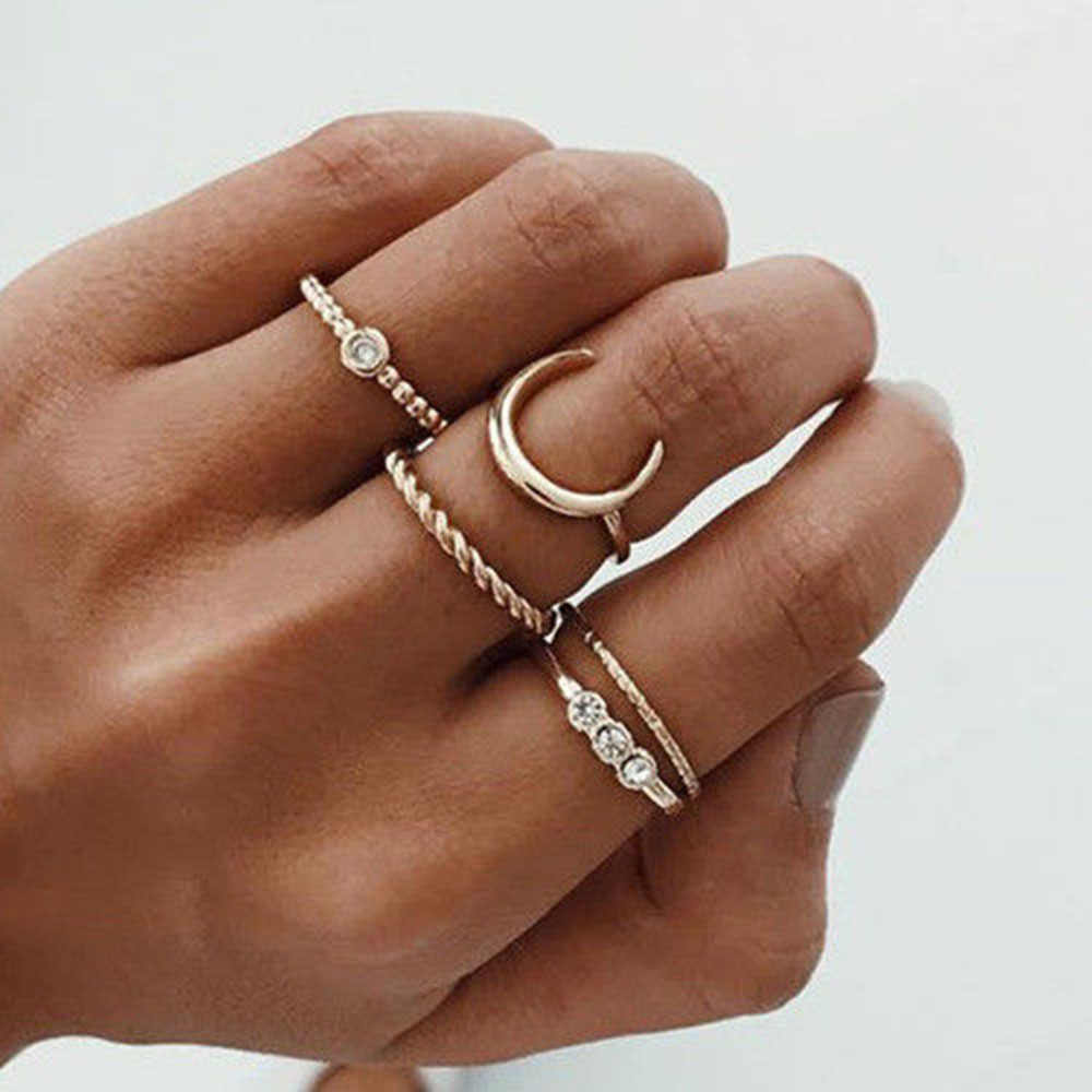 Brief 5pcs/set CZ Crystal Midi Rings for Women Bohemian Moon Charms Rings Wedding Party Punk Jewelry valentines day gift anel