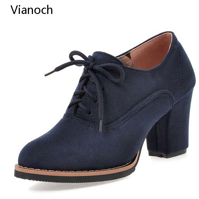 Vianoch Fashion Womens High Heels Lace Up Platform Pumps Casual Shoes Size 40 41 42 43 wo180885 in Women 39 s Pumps from Shoes