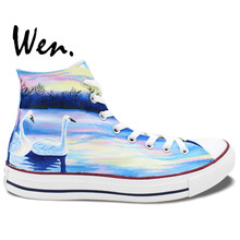 Wen Design Custom Original Hand Painted Shoes White Swans in Lake High Top Canvas Sneakers Gifts for Woman Man