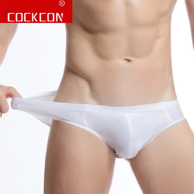 Cockcon Men Underwear Brief  Seemless Ice Silk No Trace Slip Thin Summer Breathable Nylon Briefs Sexy Male Panties Underpants