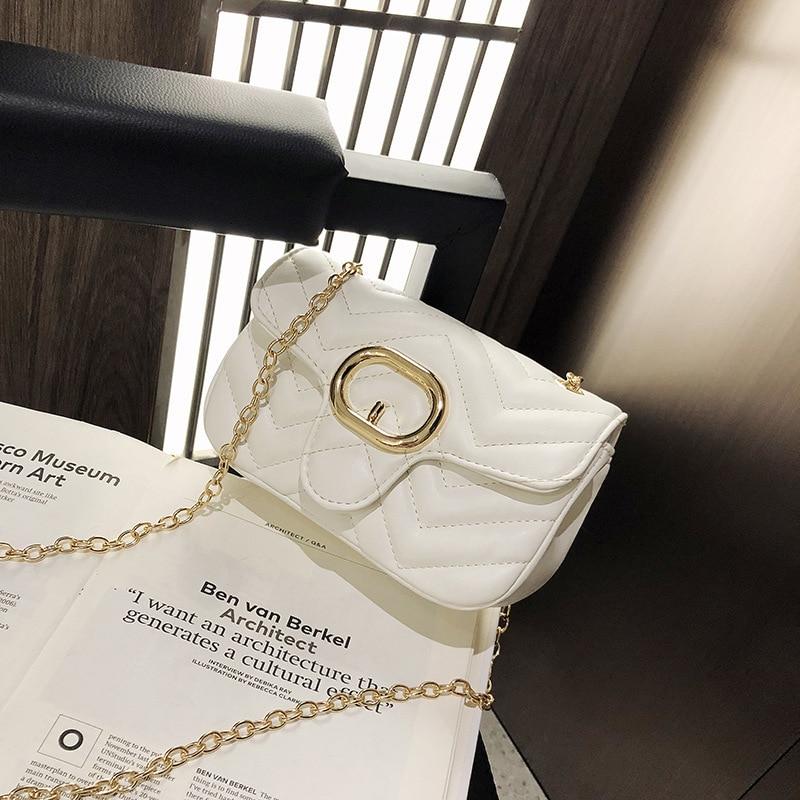 Female Crossbody Bag For Women 2019 Quality Leather Luxury Handbag Designer Sac Main Ladies Chain Lattice Shoulder Messenger Bag in Shoulder Bags from Luggage Bags