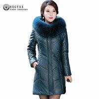 Натуральным лисьим меховой воротник модные Кожаные куртки Для женщин дубленок плюс Размеры кожа вниз пальто Jaquetas Feminino Okb189