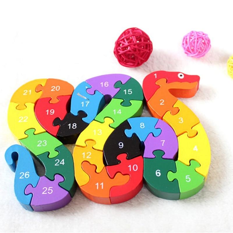 Bébé Enfants Enfants Jouets En Bois Alphabet Nombre Bâtiment Jigsaw Puzzle Serpent Forme Drôle Numérique Puzlzle Jeu Jouets Éducatifs