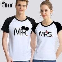 IDzn Mùa Hè của Nam Giới Phụ Nữ Những Người Yêu Thích Thời Trang Giản Dị T-Shirt Ông Chuột hôn Mrs Chuột Lady Quý Ông Couple Áo Ngắn Màu Đen Tee Tops