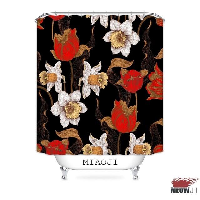 MIAOJI Royal Luxury Classic China Red Flowers Shower Curtain Waterproof Fabric Bathroom Screens Curtains Free Shipping