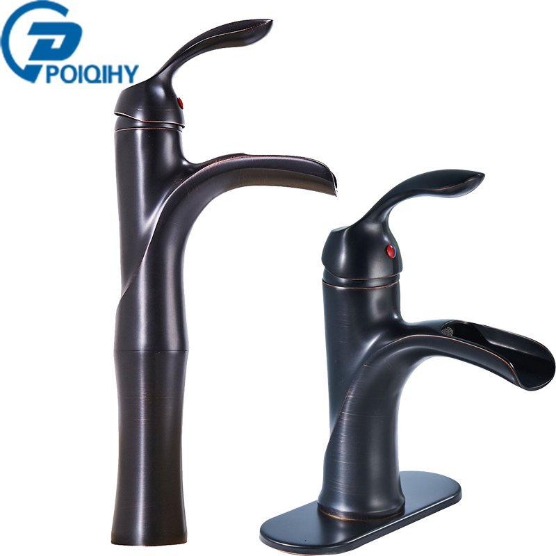 Oil Rubbed Bronze Basin Faucet Waterfall Single Handle Vanity Sink Mixer Taps Brass Deck Mounted Basin Bathroom Faucet fapully waterfall faucet oil rubbed bronze single handle basin faucet bathroom vanity sink mixer tap