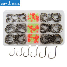 Easy Catch 7384 High Carbon Steel Fishing Hooks Saltwater Fishing Offset Sport Circle Bait Fishhooks Set With Box