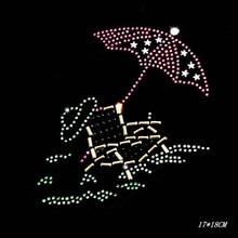 umbrella10piece/lot Hot Fix Rhinestones motif crystal Heat Transfer design iron on clothes T Shirt dance dress T-158