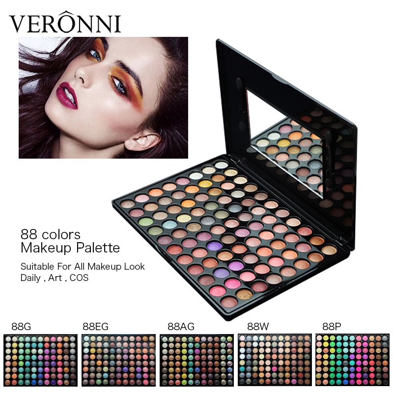 88 colors nude makeup eye shadow palette shimmer Matte eyeshadow Luminous Glitter tool Kit Set Box with Mirror