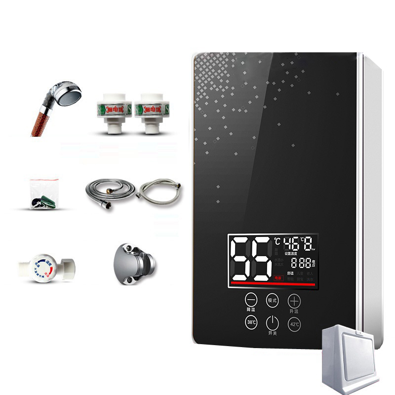 DMWD Ultra-thin Wall Mounted 6050W Instant Electric Water Heater 220V Bathroom And Kitchen Tankless Water Boiler 3S Quick Hot