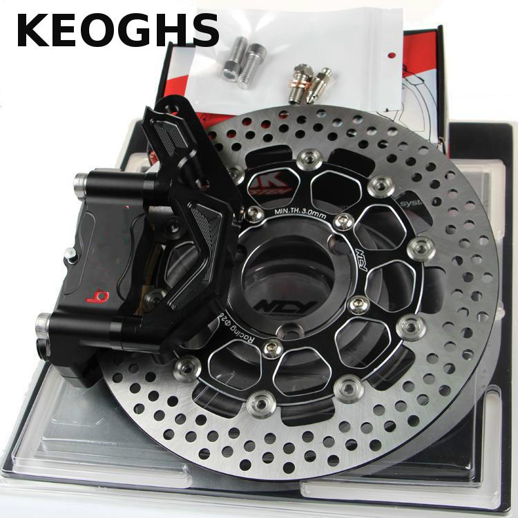 KEOGHS Motorcycle Hydraulic Brake System 4 Piston 100mm Hf2 Brake Caliper/260mm Brake Disc For Yamaha Scooter Cygnus-x Modify keoghs motorcycle rear hydraulic disc brake set diy modify cnc rpm brake pumb for yamaha scooter dirt bike motorcross motorbike