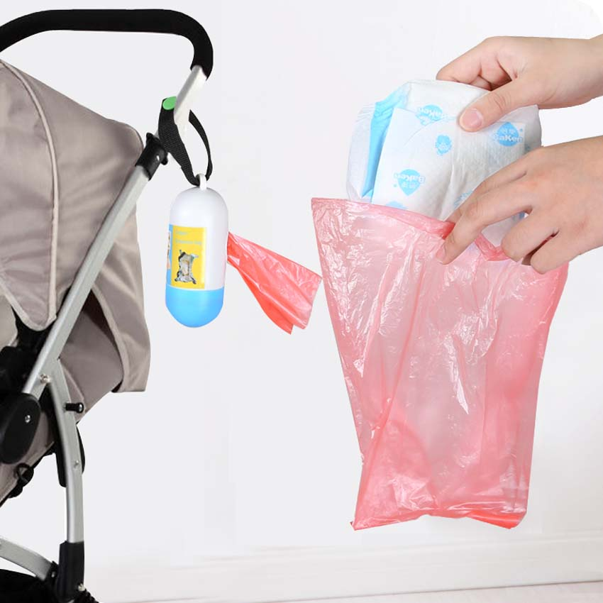 2 Rolls=40Pcs Portable Garbage Bag Travel Nappy Bags One-time Use Rubbish Bag For Baby Discard Diaper Nappy Baby Healthcare Kits