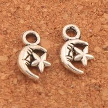 Moon Star Spacer Charm Beads 11.5x7.1mm 800pcs Antique Silver Pendants Alloy Handmade Jewelry DIY L146 antique silver te tra gram ma ton star pendants wizard necklace
