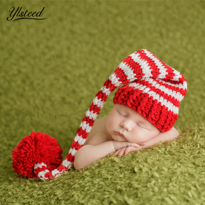 Baby Long Tails Hats Newborn Photography Props Knitted Baby Beanie Stripe Hat for Picture Props Infant Photography Accessories