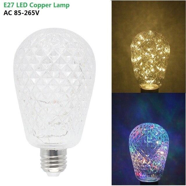 1pcs NEW E27 RGB Christmas Lighting AC 85 265V LED Copper Wire ...
