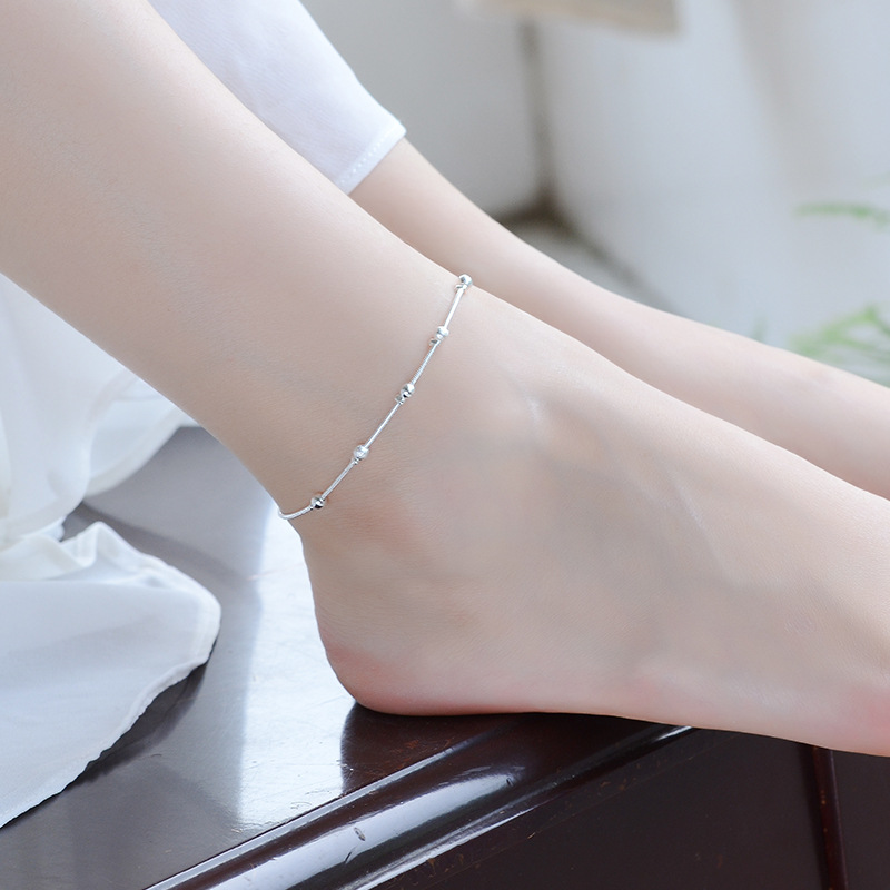 LUKENI Wholesale Trendy Silver Bracelets Women Party Accessories Female Fashion 925 Sterling Silver Anklets Girl Christmas Gift