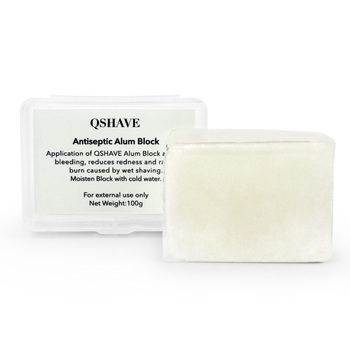 100g Large Alum Block in Storage Case Soothing Aftershave Astringent to Close Pores Helps Stop Bleeding from Nicks and Cuts