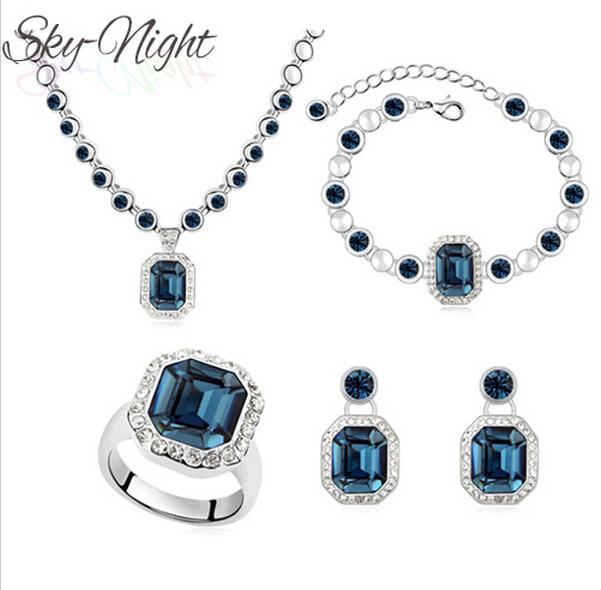 Wedding la joyería nupcial fija el collar pulsera anillo pendientes exquisito cristal de imitación de la joyería del oro blanco mujeres LQ